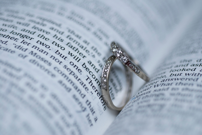 engagement rings on Bible